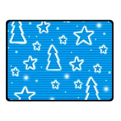Blue Decorative Xmas Design Double Sided Fleece Blanket (small)  by Valentinaart