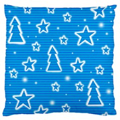 Blue Decorative Xmas Design Large Flano Cushion Case (two Sides) by Valentinaart