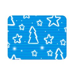 Blue Decorative Xmas Design Double Sided Flano Blanket (mini)  by Valentinaart
