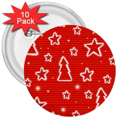 Red Xmas 3  Buttons (10 Pack)  by Valentinaart
