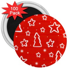Red Xmas 3  Magnets (100 Pack) by Valentinaart