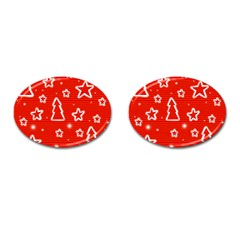 Red Xmas Cufflinks (oval) by Valentinaart