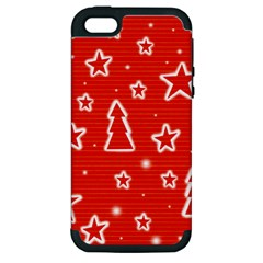 Red Xmas Apple Iphone 5 Hardshell Case (pc+silicone) by Valentinaart