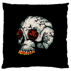 Halloween Skull Large Flano Cushion Case (two Sides) by lvbart