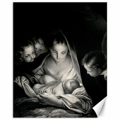 Nativity Scene Birth Of Jesus With Virgin Mary And Angels Black And White Litograph Canvas 11  x 14   by yoursparklingshop