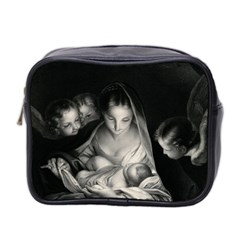 Nativity Scene Birth Of Jesus With Virgin Mary And Angels Black And White Litograph Mini Toiletries Bag 2 Side by yoursparklingshop
