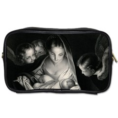 Nativity Scene Birth Of Jesus With Virgin Mary And Angels Black And White Litograph Toiletries Bags 2 Side by yoursparklingshop