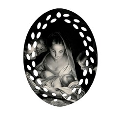 Nativity Scene Birth Of Jesus With Virgin Mary And Angels Black And White Litograph Oval Filigree Ornament (2 Side)  by yoursparklingshop