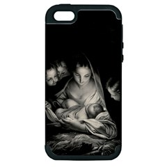 Nativity Scene Birth Of Jesus With Virgin Mary And Angels Black And White Litograph Apple Iphone 5 Hardshell Case (pc+silicone) by yoursparklingshop