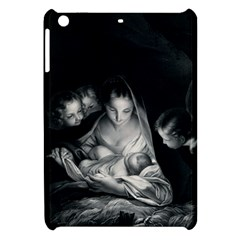 Nativity Scene Birth Of Jesus With Virgin Mary And Angels Black And White Litograph Apple Ipad Mini Hardshell Case by yoursparklingshop