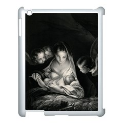 Nativity Scene Birth Of Jesus With Virgin Mary And Angels Black And White Litograph Apple Ipad 3/4 Case (white) by yoursparklingshop