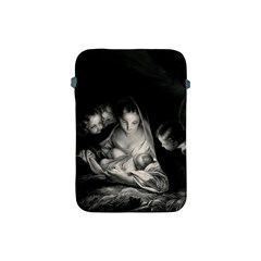 Nativity Scene Birth Of Jesus With Virgin Mary And Angels Black And White Litograph Apple Ipad Mini Protective Soft Cases by yoursparklingshop