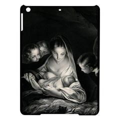 Nativity Scene Birth Of Jesus With Virgin Mary And Angels Black And White Litograph Ipad Air Hardshell Cases by yoursparklingshop