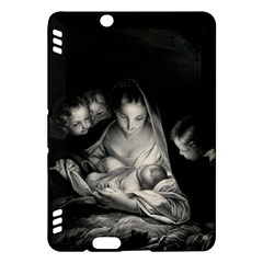 Nativity Scene Birth Of Jesus With Virgin Mary And Angels Black And White Litograph Kindle Fire Hdx Hardshell Case by yoursparklingshop