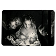 Nativity Scene Birth Of Jesus With Virgin Mary And Angels Black And White Litograph Ipad Air Flip by yoursparklingshop