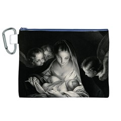 Nativity Scene Birth Of Jesus With Virgin Mary And Angels Black And White Litograph Canvas Cosmetic Bag (xl) by yoursparklingshop