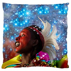 African Star Dreamer Large Flano Cushion Case (two Sides) by icarusismartdesigns