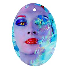 Swimming Into The Blue Ornament (oval)  by icarusismartdesigns
