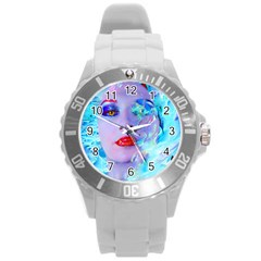 Swimming Into The Blue Round Plastic Sport Watch (l) by icarusismartdesigns