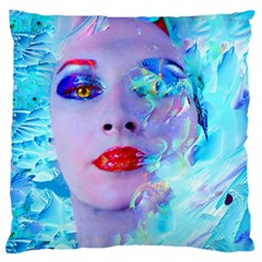 Swimming Into The Blue Large Flano Cushion Case (one Side) by icarusismartdesigns