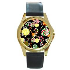 Xmas Candies  Round Gold Metal Watch by Valentinaart
