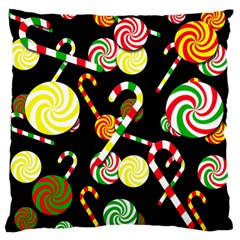 Xmas Candies  Large Flano Cushion Case (one Side) by Valentinaart