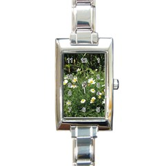 White Daisy Flowers Rectangle Italian Charm Watch by picsaspassion