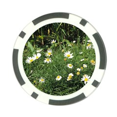 White Daisy Flowers Poker Chip Card Guards by picsaspassion
