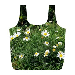 White Daisy Flowers Full Print Recycle Bags (l)  by picsaspassion