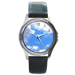 Clouds And Blue Sky Round Metal Watch by picsaspassion