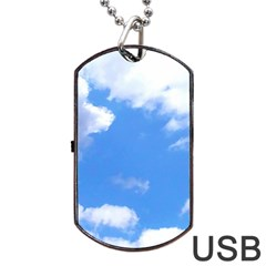 Clouds And Blue Sky Dog Tag Usb Flash (one Side) by picsaspassion