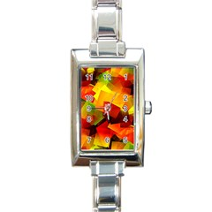 Indian Summer Cubes Rectangle Italian Charm Watch by designworld65