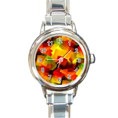 Indian Summer Cubes Round Italian Charm Watch by designworld65