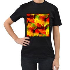 Indian Summer Cubes Women s T Shirt (black) (two Sided) by designworld65