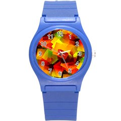 Indian Summer Cubes Round Plastic Sport Watch (s) by designworld65