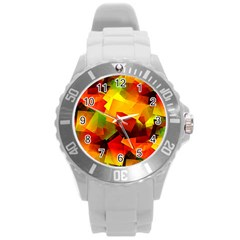 Indian Summer Cubes Round Plastic Sport Watch (l) by designworld65