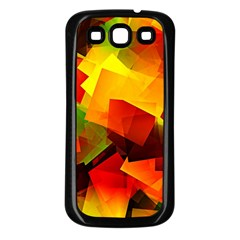 Indian Summer Cubes Samsung Galaxy S3 Back Case (black) by designworld65