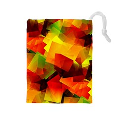 Indian Summer Cubes Drawstring Pouches (large)  by designworld65