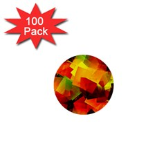 Indian Summer Cubes 1  Mini Buttons (100 Pack)  by designworld65