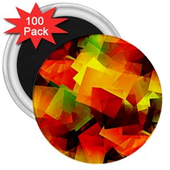 Indian Summer Cubes 3  Magnets (100 Pack) by designworld65
