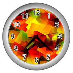 Indian Summer Cubes Wall Clocks (silver)  by designworld65