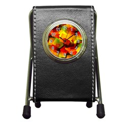 Indian Summer Cubes Pen Holder Desk Clocks by designworld65