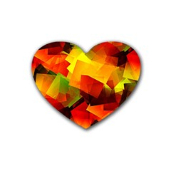 Indian Summer Cubes Heart Coaster (4 Pack)  by designworld65