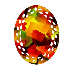 Indian Summer Cubes Ornament (oval Filigree)  by designworld65