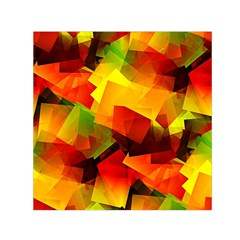 Indian Summer Cubes Small Satin Scarf (square)  by designworld65