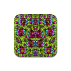 Freedom In Colors And Floral Rubber Square Coaster (4 Pack)  by pepitasart