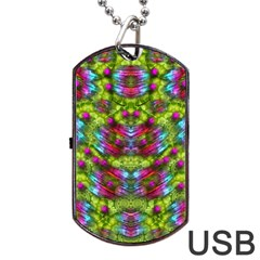 Freedom In Colors And Floral Dog Tag Usb Flash (two Sides)  by pepitasart
