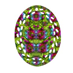 Freedom In Colors And Floral Oval Filigree Ornament (2 Side)  by pepitasart