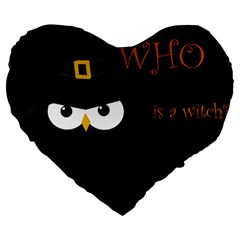 Who Is A Witch? Large 19  Premium Heart Shape Cushions by Valentinaart
