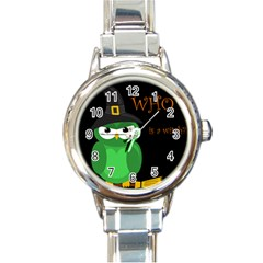 Who Is A Witch?   Green Round Italian Charm Watch by Valentinaart